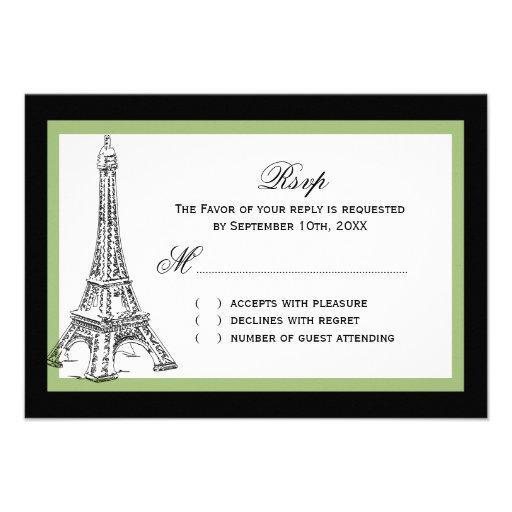 Torre Eiffel que casa las tarjetas de RSVP Invitacion Personal