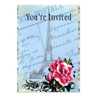 Torre Eiffel romántica del vintage de París y Invitación 12,7 X 17,8 Cm