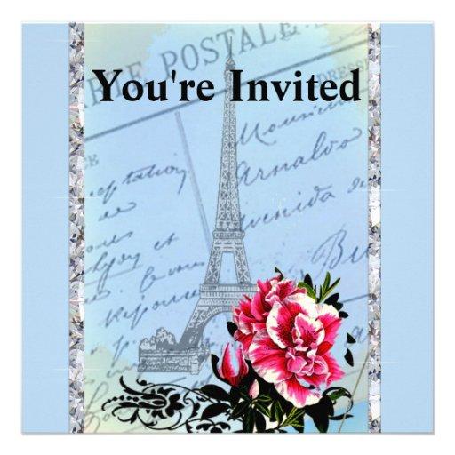 Torre Eiffel romántica del vintage de París y subi Comunicado Personalizado
