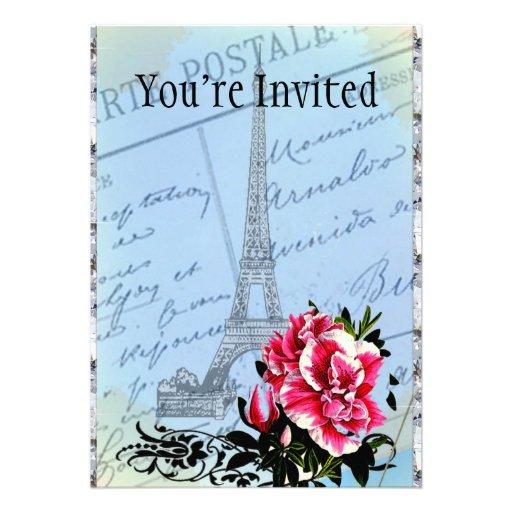 Torre Eiffel romántica del vintage de París y subi Invitación Personalizada