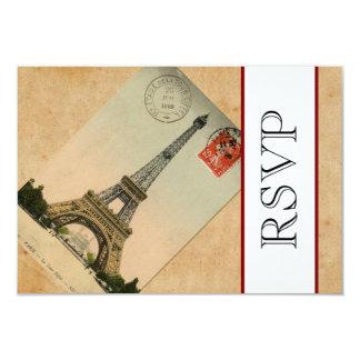 Torre Eiffel RSVP de París del vintage Invitación 8,9 X 12,7 Cm