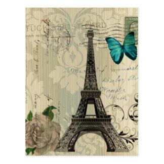 Torre Eiffel subió mariposa poner crema de París Postal