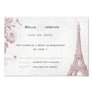 Torre Eiffel subió vintage RSVP del color Invitación 8,9 X 12,7 Cm
