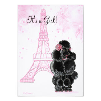 Torre Eiffel y fiesta de bienvenida al bebé negra Invitacion Personalizada