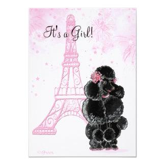 Torre Eiffel y fiesta de bienvenida al bebé negra Invitación 11,4 X 15,8 Cm