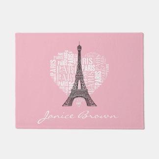 Torre Eiffel y inscripciones París en corazón
