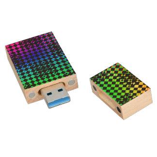 Torsión a cuadros memoria USB de madera