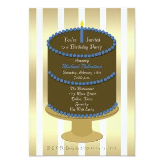 Torta adulta de la fiesta de cumpleaños con el invitación 12,7 x 17,8 cm