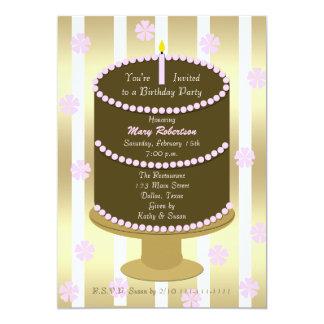 Torta adulta del rosa de la fiesta de cumpleaños invitación 12,7 x 17,8 cm