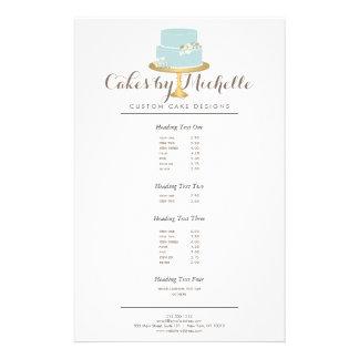 Torta azul elegante con la torta floral que adorna folleto 14 x 21,6 cm