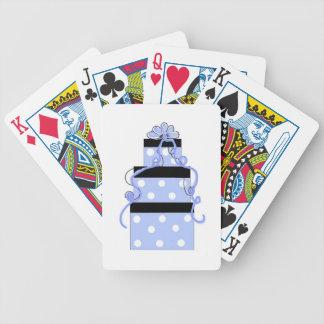 Torta azul y blanca del lunar baraja cartas de poker