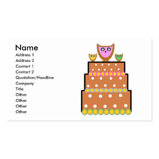 Torta blanca del búho del polkadot tarjetas de visita