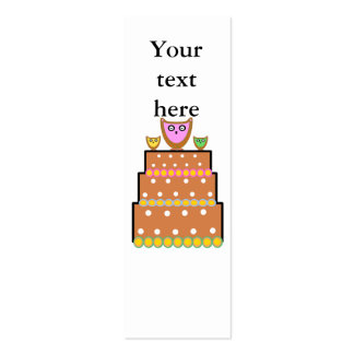 Torta blanca del búho del polkadot tarjetas de visita mini