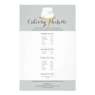 Torta blanca elegante con la torta floral que folleto 14 x 21,6 cm