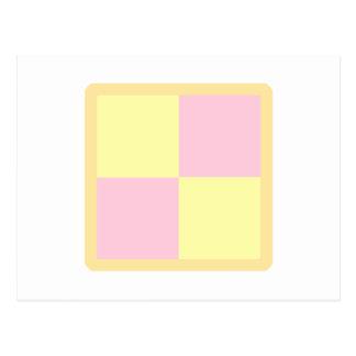 Torta de Battenburg. Rosa y amarillo Postal