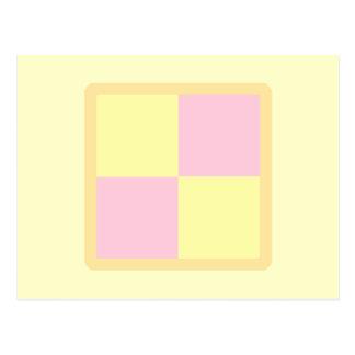 Torta de Battenburg Rosa y amarillo Tarjetas Postales