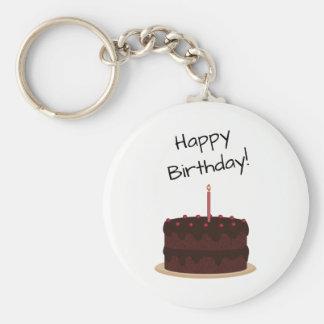 Torta de chocolate del feliz cumpleaños llavero