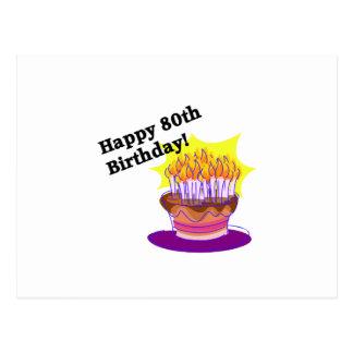 Torta de cumpleaños 80.a postal
