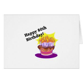 Torta de cumpleaños 80.a tarjeta de felicitación