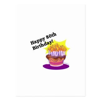 Torta de cumpleaños 80 a tarjetas postales