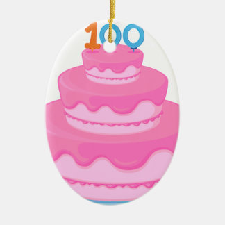 torta de cumpleaños adorno ovalado de cerámica