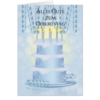 Torta de cumpleaños alemana y velas de tarjeta