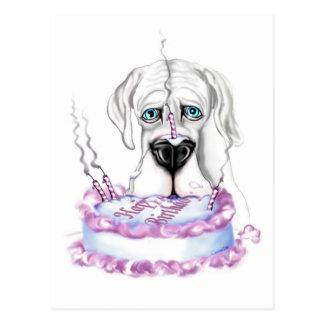 Torta de cumpleaños blanca de great dane UC Postal