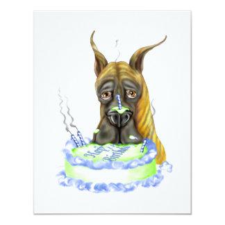 Torta de cumpleaños Brindle de great dane Invitación 10,8 X 13,9 Cm