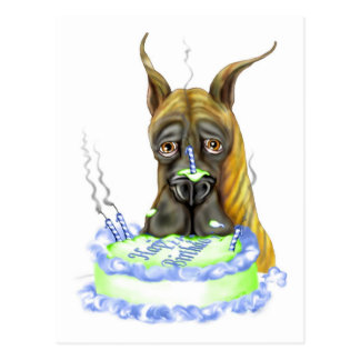 Torta de cumpleaños Brindle de great dane Postal