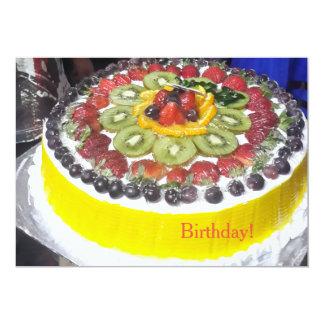 ¡Torta de cumpleaños colorida! Invitación 12,7 X 17,8 Cm