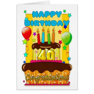 torta de cumpleaños con las velas - 40.o tarjeta de felicitación