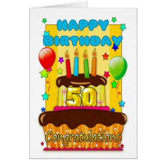 torta de cumpleaños con las velas - 50.o tarjeta de felicitación