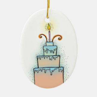 Torta de CUMPLEAÑOS con las velas twirly rizadas Adorno Navideño Ovalado De Cerámica