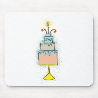 Torta de CUMPLEAÑOS con las velas twirly rizadas Alfombrilla De Ratón