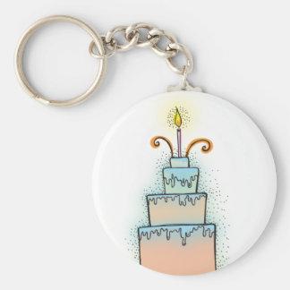 Torta de CUMPLEAÑOS con las velas twirly rizadas Llavero Redondo Tipo Chapa