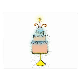 Torta de CUMPLEAÑOS con las velas twirly rizadas Postal