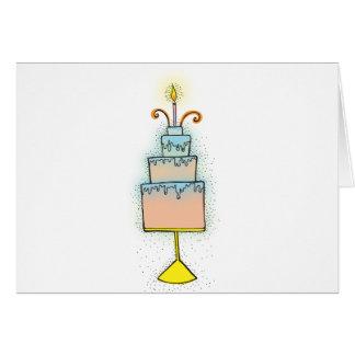Torta de CUMPLEAÑOS con las velas twirly rizadas Tarjeta