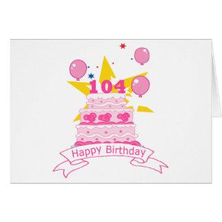 Torta de cumpleaños de 104 años tarjeta