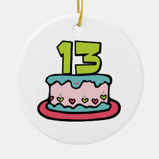 Torta de cumpleaños de 13 años adorno redondo de cerámica