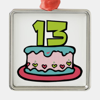 Torta de cumpleaños de 13 años adorno navideño cuadrado de metal