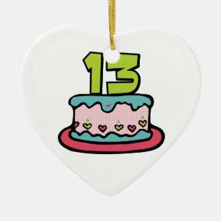 Torta de cumpleaños de 13 años adorno navideño de cerámica en forma de corazón