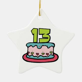 Torta de cumpleaños de 13 años adorno navideño de cerámica en forma de estrella