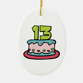 Torta de cumpleaños de 13 años adorno navideño ovalado de cerámica