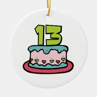 Torta de cumpleaños de 13 años adorno navideño redondo de cerámica