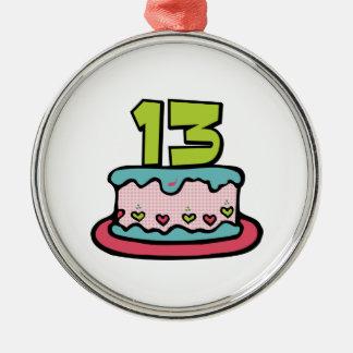 Torta de cumpleaños de 13 años adorno navideño redondo de metal
