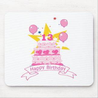 Torta de cumpleaños de 13 años alfombrilla de ratón