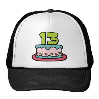 Torta de cumpleaños de 13 años gorras