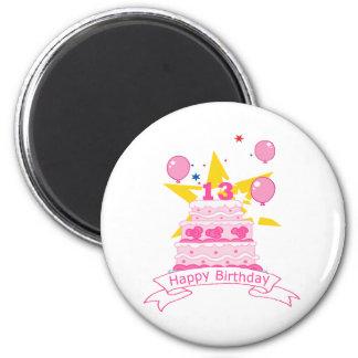 Torta de cumpleaños de 13 años imán de frigorifico