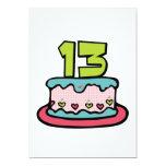 Torta de cumpleaños de 13 años invitación 12,7 x 17,8 cm