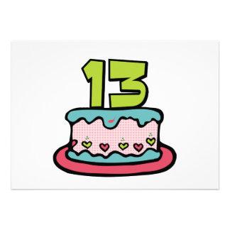 Torta de cumpleaños de 13 años invitaciones personales